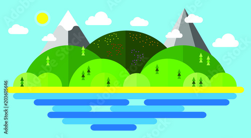 Summer vector illustration, modern flat design conceptual landscapes with sea, beach, hills and mountains.
