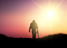 Silhouette Of A Soldier At Sun...