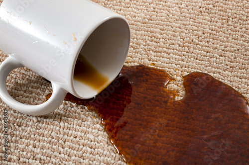 Fotografija  Home mishap, stained carpet, and domestic accident concept with close up of a sp