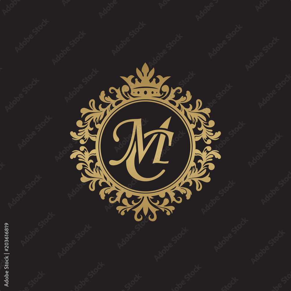 Fototapeta Initial letter MC, overlapping monogram logo, decorative ornament badge, elegant luxury golden color