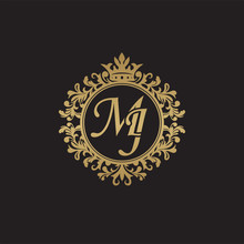 Initial Letter MJ, Overlapping Monogram Logo, Decorative Ornament Badge, Elegant Luxury Golden Color