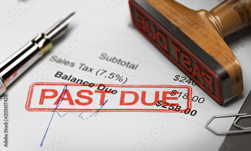 Valokuvatapetti Business Debt Collection or Recovery. Unpaid Invoice