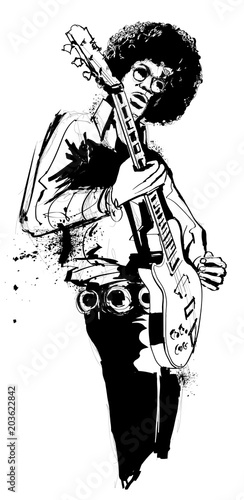 Door stickers Art Studio Guitar player in black and white