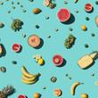 Fresh fruits on blue background