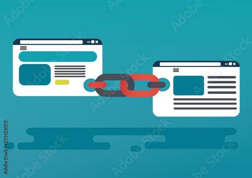 Backlinks or link building. seo concept. vector illustration