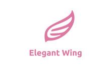 Beauty Flying Bird Wings Initial Letter E Logo Design