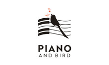 Singing Bird Piano Music Key Notes Silhouette Logo Design Inspiration