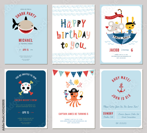 Photo Birthday boy invitation cards set