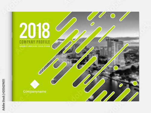 In de dag Lime groen Cover design template corporate business annual report brochure poster company profile catalog magazine flyer booklet leaflet. Cover page design element A4 landscape sample image with Gradient Mesh.