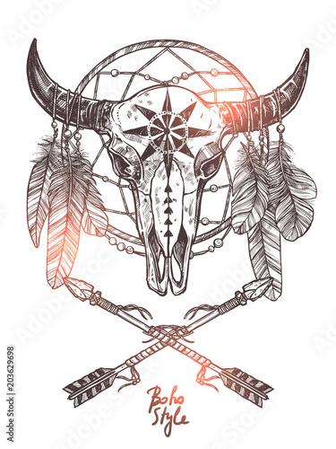 czaszka-byka-z-lapaczem-snow-styl-indianski-rogi-byka-boho