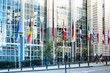 canvas print picture - BRUSSELS, BELGIUM - August 5, 2017 : Exterior of the building of the European Parliament in Brussels, Belgium. it exercises the legislative function of the EU.August 5, 2017, BRUSSELS, BELGIUM
