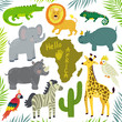 Vector set of african animals: elephant, giraffe, hippo, zebra, crocodile, lion, iguana, rhino, cockatoo parrot, macaw, african continent and floral elements: palm leaves and cactus. Cute zoo.