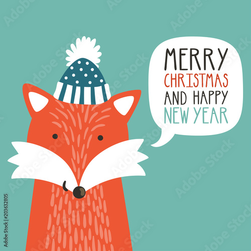 vector holiday illustration of a cute fox in a hat saying merry christmas and happy