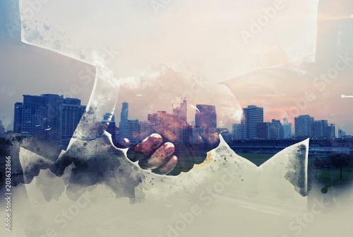 Foto auf Gartenposter Antarktika Beautiful Handshake double exposure and offices building background.