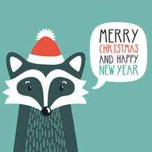 """Vector Holiday Illustration Of A Cute Raccoon In A Santa's Hat Saying """"Merry Christmas And Happy New Year"""". Christmas Background With Smiling Cartoon Character. Winter Greeting Card."""