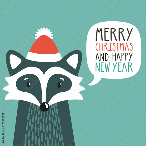 vector holiday illustration of a cute raccoon in a santas hat saying merry christmas and