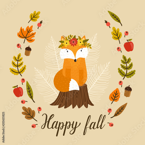 Vector Aurumn Background With Cute Fox Wreath From Autumn Leaves Berries Apples And Text Happy Fall Hand Drawn Little Fox Is Sitting On The Stump Cartoon Character Beautiful Childish Poster Buy