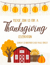Vector Thanksgiving Invitation Template. Invite For Harvest Dinner. Autumn Background With Wooden Texture, Garland Of Lantern, Red House, Autumn Tree, Fence, Wheat Sheaf, Pumpkin And Hand Written Text