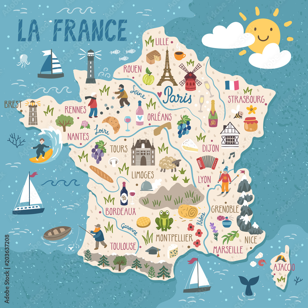 Fototapeta Vector stylized map of France. Travel illustration with french landmarks, people, food and animals.