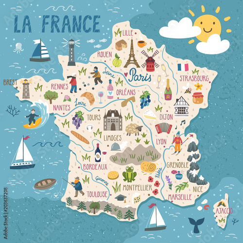 Canvas Print Vector stylized map of France