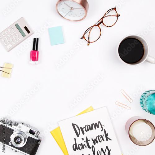 Women s home office desk workspace with handwritten quote notebook ... 51a1de9032