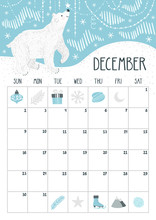 Vector Monthly Calendar With C...