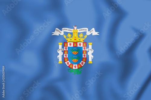 3D Flag of Melilla, Spain.