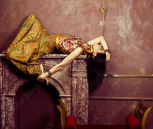 Fényképezés portrait of beauty sensual young woman in oriental style luxury