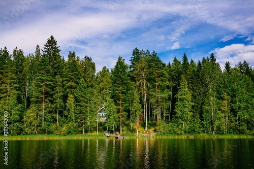 Keuken foto achterwand Meer / Vijver Idyllic countryside landscape view with blue lake and house on the shore. Summer cottage in Finland.