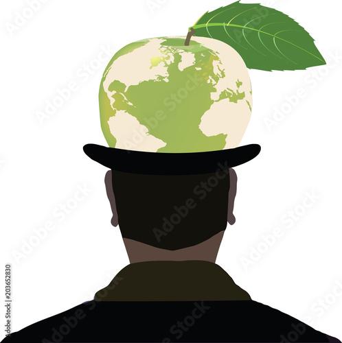 uomo nero di spalle con cilindro mela verde Poster
