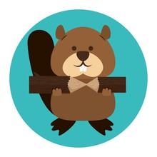 Beaver Canadian Animal Scene Vector Illustration Design
