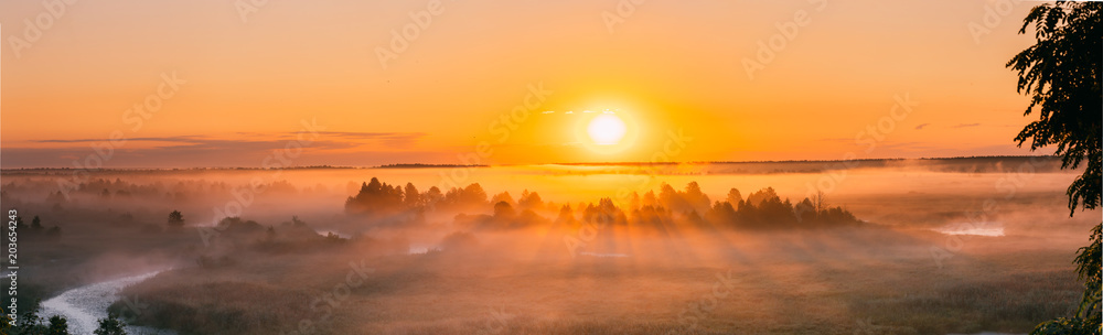 Fototapety, obrazy: Amazing Sunrise Over Misty Landscape. Scenic View Of Foggy Morning