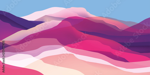 Color mountains, waves, abstract shapes, modern background, vector design Illustration for you project