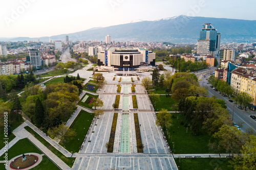 Aerial photo of National Palace of Culture in Sofia