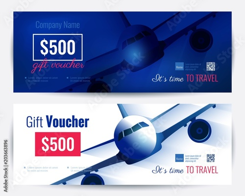 set of gift travel voucher template gift certificate for a holiday vector flat illustration