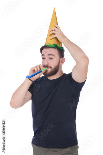 wearing a party cone Poster