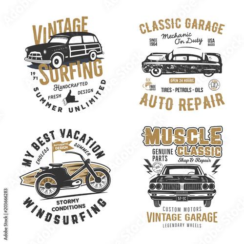 Auto Repair T Shirt Designs | Vintage Hand Drawn Tee Prints Set Surf Print Design Old Garage
