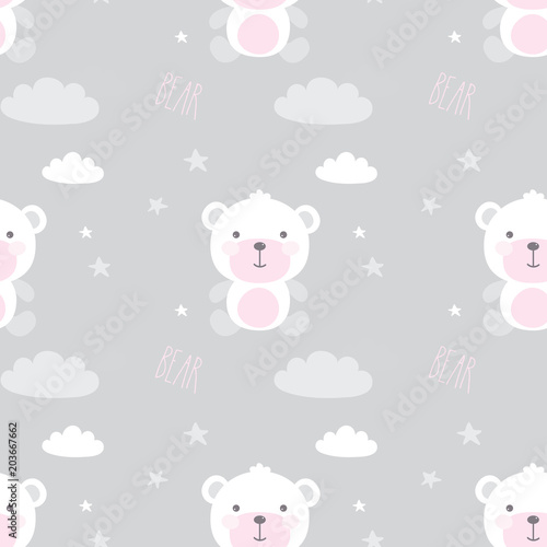 Cute seamless pattern with bears,stars,clouds and hearts