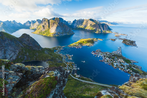 Tuinposter Nachtblauw View of Reine in Lofoten, Norway