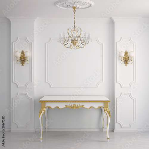 Photo  Interior in classical style (3D rendering)