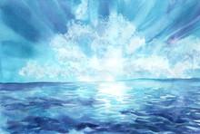 Hand Drawn Watercolor Illustration. Beautiful Seascape