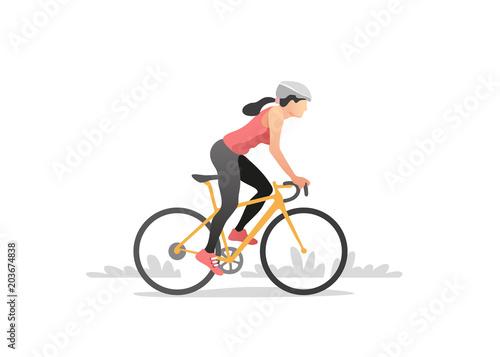 Fotografie, Obraz  Woman riding a bike. Healthy lifestyle. Vector illustration.