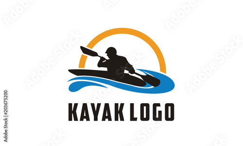 Fotografía  Kayak boat and paddle, silhouette of kayaker logo design