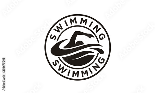 Photo Swimming Sport Stamp Sticker Emblem Label logo design inspiration