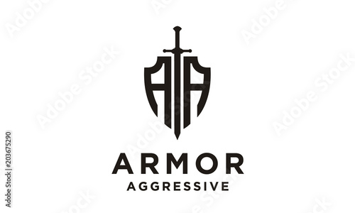 Fotografija Shield Armor Sword Initials AA for Military Legal Insurance logo design inspirat