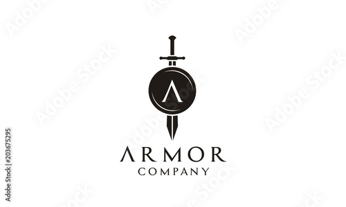 Fotografija Shield Armor Sword Initial Letter A for Military Legal Insurance logo design ins