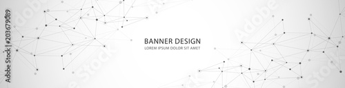 Photo Vector banner design, network connection with lines and dots