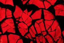Random Mosaic: Pieces Of Vivid Red Backlit Glass