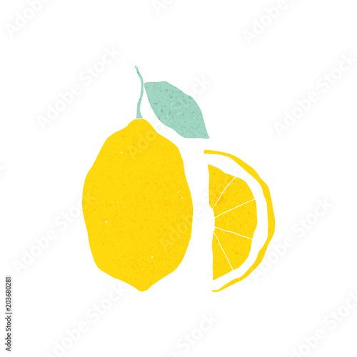 Fotografie, Obraz  Hand drawn textured lemon illustration on the white background