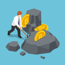 Isometric Businessman Is Digging Bitcoin From The Rock